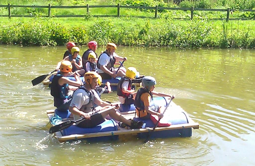 Raft racing at family camp 2014